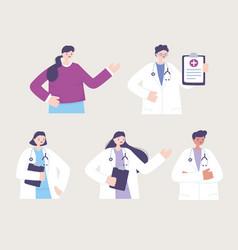 Telemedicine characters doctors female male vector