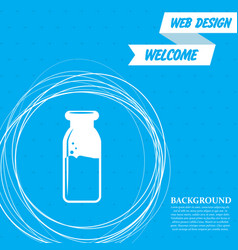 traditional bottle of milk icon on a blue vector image
