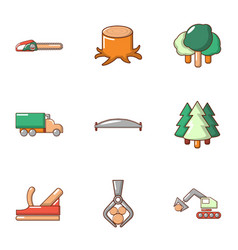 Tree felling icons set flat style vector