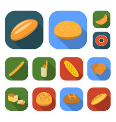 types of bread flat icons in set collection for vector image