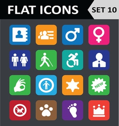Universal Colorful Flat Icons Set 10 vector