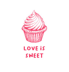 Valentines day cupcake greeting card or poster vector