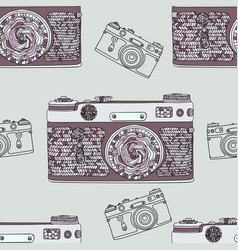 vintage retro photo camera seamless pattern vector image