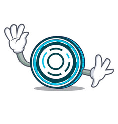 waving aion coin character cartoon vector image
