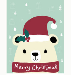 White teddy bear wears red santa clause hat merry vector