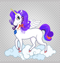 white unicorn with big eyes horn feather wings vector image