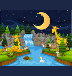 Wild animals next to river at night vector