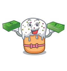 With money bag easter cake mascot cartoon vector