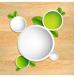 Wood Texture With Green Leaves vector image