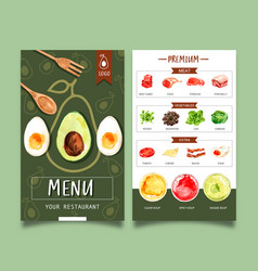 World food day menu design with avocado meat vector