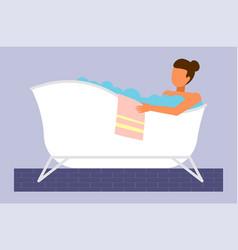 young woman taking bath washing body in bath vector image