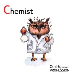 Alphabet professions Owl Chemist character on a vector image