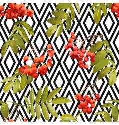 Autumn Rowan Berry Background Seamless Pattern vector image vector image