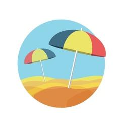 Beach umbrellas on a deserted beach vector image vector image