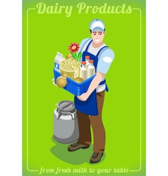 Dairy Services People Isometric vector image
