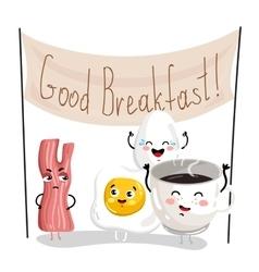 Funny breakfast cartoon character set vector image