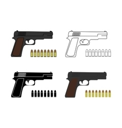 9mm pistols set with bullets vector