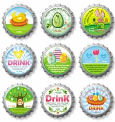 Easter bottle caps vector image