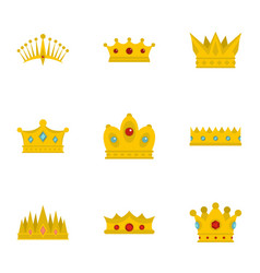 Medieval crown icon set flat style vector