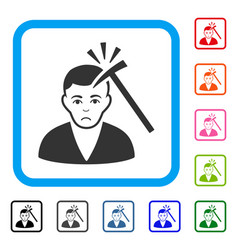 Murder with hammer framed unhappy icon vector