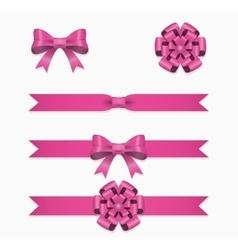 Pink ribbon and bow set for gift box vector image vector image