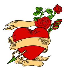 rose and heart emblem vector image vector image