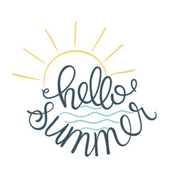hello summer of sun icon and sea vector image