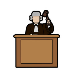 judge wearing white wig and holding gavel law and vector image