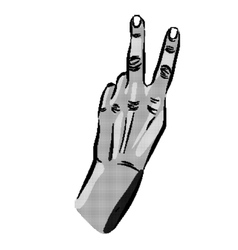 peace hands halftone on a white background vector image vector image