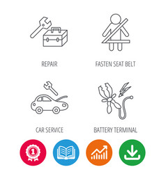 repair battery terminal and car service icons vector image vector image