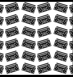 seamless pattern stereo recorder player audio vector image vector image