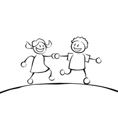 Two black and white kids holding hands vector image vector image