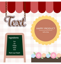 cute coffee shop with blackboard and flowers vector image