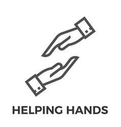 helping hands thin line icon vector image