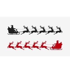 Santa sleigh reindeer silhouette Christmas symbol vector image vector image