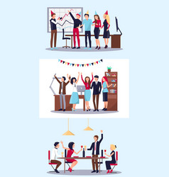 set of people celebrating vector image