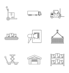 Shipping icons set outline style vector image
