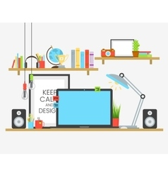 Working place of creative team in flat design over vector image