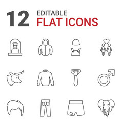 12 male icons vector