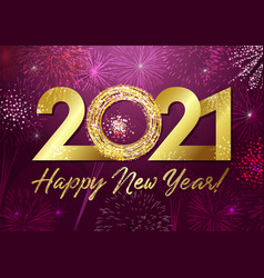 2021 golden glittering 3d fireworks purple vector image
