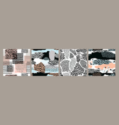 abstract seamless patterns with animal print vector image