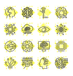 Artificial intelligence icons icons vector