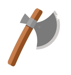 Axe steel isolated and sharp axe cartoon weapon vector image