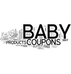 Baby coupons text word cloud concept vector