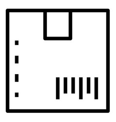 Barcode on box icon outline style vector