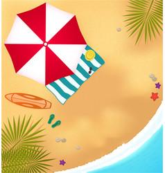 beach sea surfboard umbrella and towel vector image