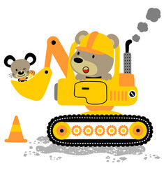 Bear driving heavy tools with little mouse cartoon vector