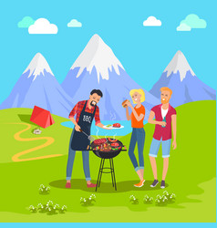 Beautiful mountain landscape and barbecue party vector