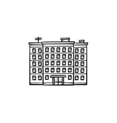 block of flats hand drawn outline doodle icon vector image