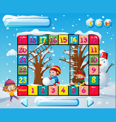 boardgame template with kids in winter vector image